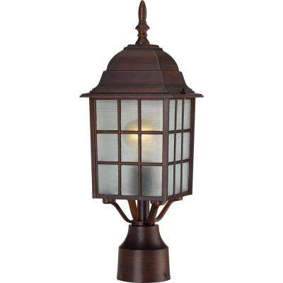 1-Light Outdoor Rustic Bronze Post Light