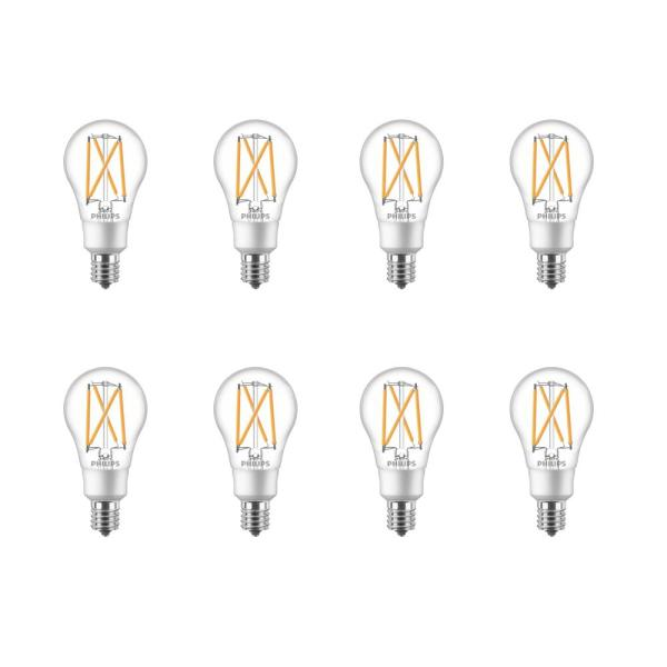 Philips 60 Watt Equivalent A15 Dimmable Intermediate Base Led Light Bulb Soft White With Warm Glow Dimming Effect 8 Pack 549006 The Home Depot