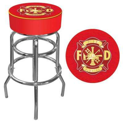 Fire Fighter 31 in. Chrome Swivel Cushioned Bar Stool