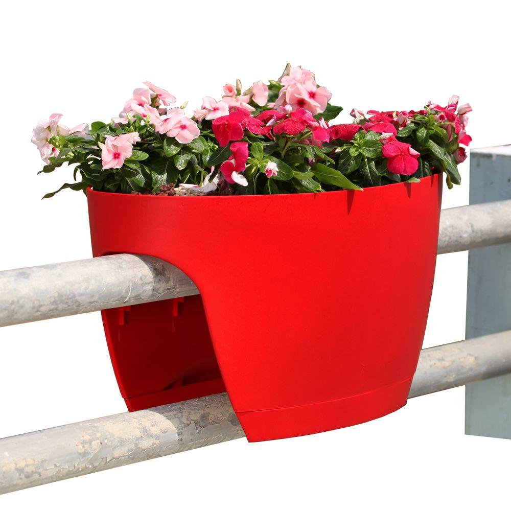 greenbo xl deck rail planter box with drainage trays 24 in color rh homedepot com Modern Railing Planter Railing Planters at Lowe's