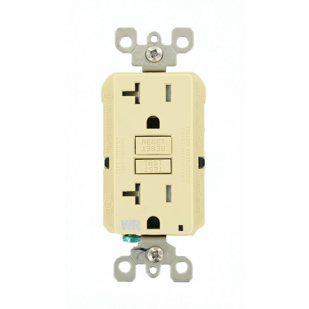 19 Amp SmartlockPro Weather/Tamper Resistant GFCI Outlet, Ivory