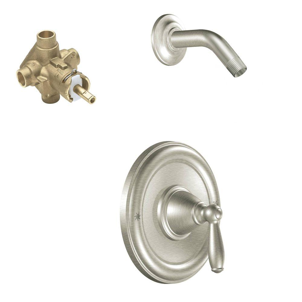 MOEN Brantford Single-Handle 1-Spray Posi-Temp Shower Faucet Trim Kit with Valve in Brushed Nickel (Valve Included)