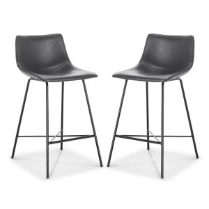 Poly And Bark Paxton 24 In Grey Counter Stool Set Of 3