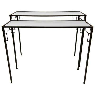 25 in. Black Metal Mirrored Tables (Set of 2)