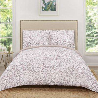 Watercolor Red/Pink Paisley Blush Damask King Quilt Set