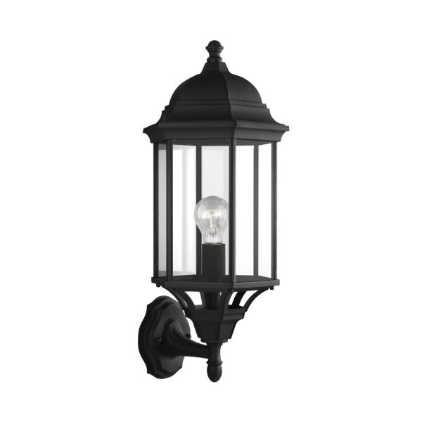 Sevier 1-Light Black Outdoor 21.75 in. Wall Lantern Sconce