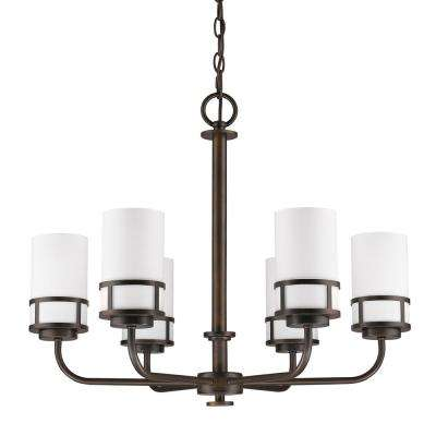 Alexis Indoor 6-Light Oil Rubbed Bronze Chandelier with Glass Shades