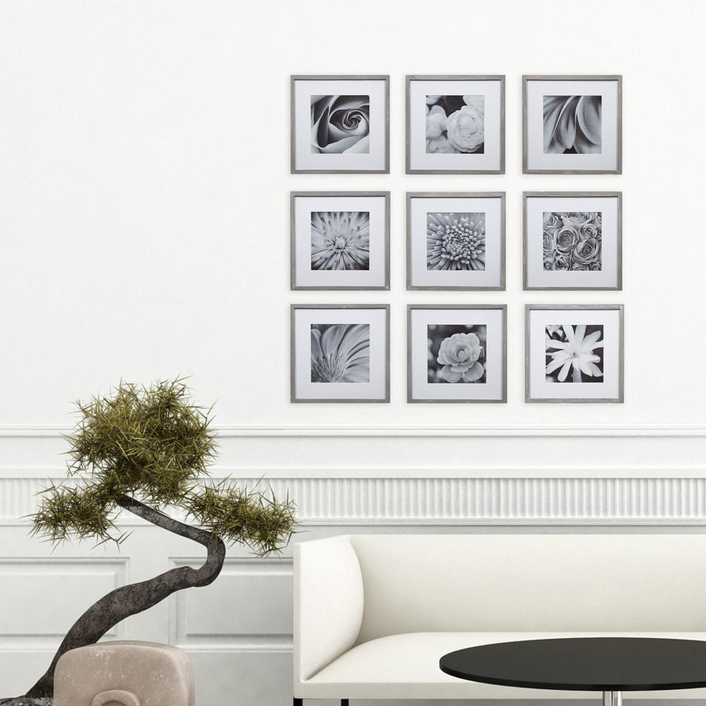Pinnacle Gallery 8 in. x 8 in. Graywash Gallery Picture Frame (Set ...