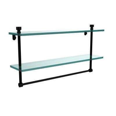 Foxtrot 22 in. L  x 12 in. H  x 5 in. W 2-Tier Clear Glass Bathroom Shelf with Towel Bar in Matte Black