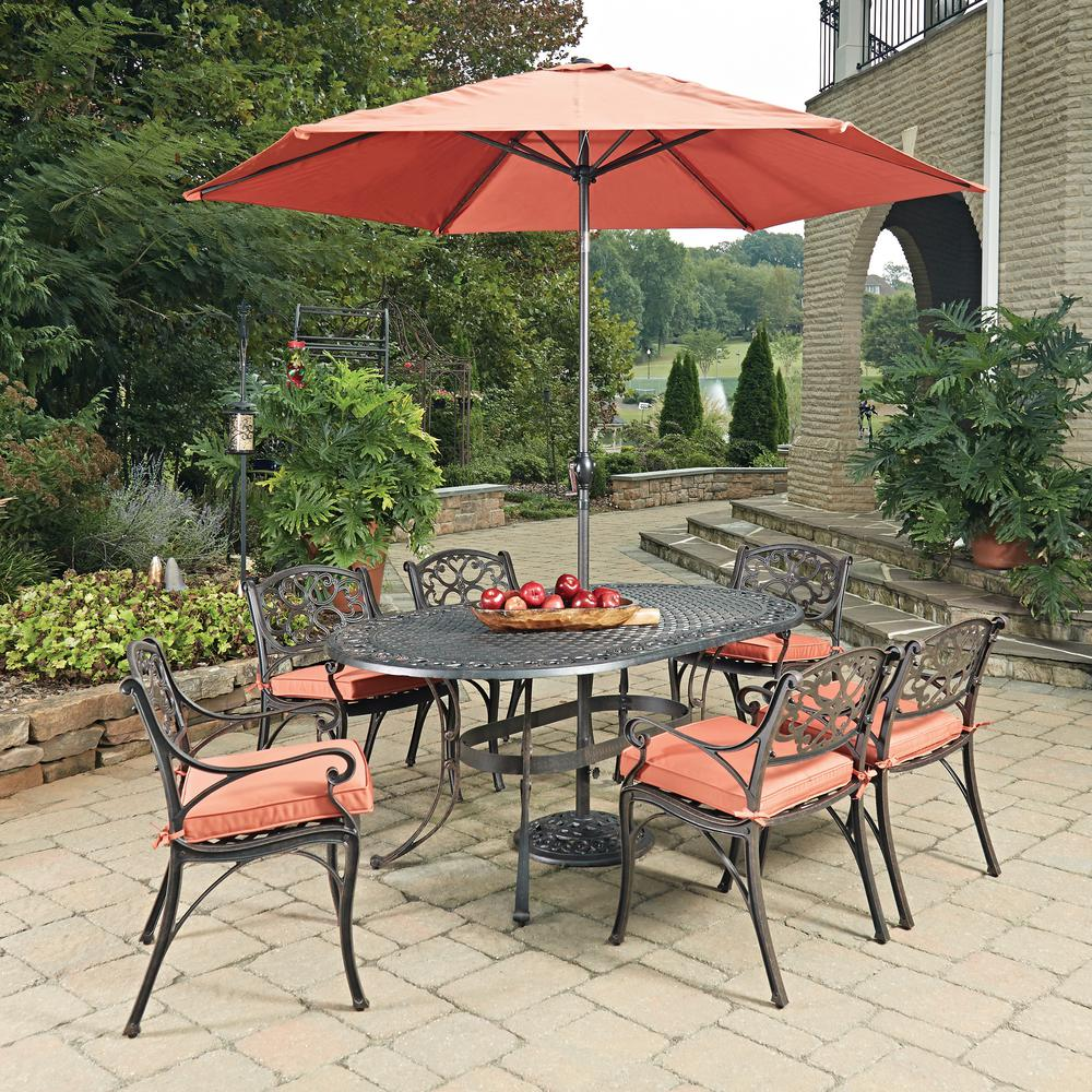 Biscayne Rust Bronze 9-Piece Cast Aluminum Outdoor Dining Set with Coral
