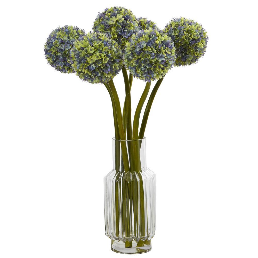 30 in. Ball Flower Artificial Arrangement in Glass Vase