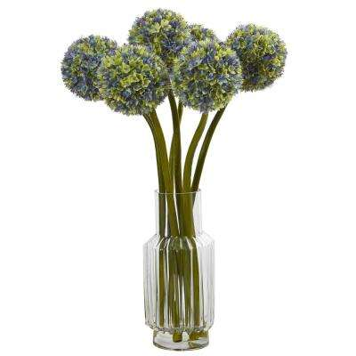 30 in. Ball Flower Artificial Arrangement in Glass Vase