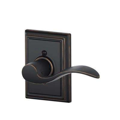 Accent Aged Bronze Right Handed Dummy Door Lever with Addison Trim