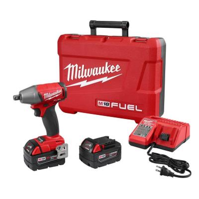 M18 FUEL 18-Volt Lithium-Ion Brushless Cordless 1/2 in. Impact Wrench Pin Detent Kit with Two 5 Ah Batteries, Hard Case