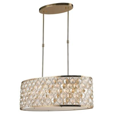 Paris 1-Light Champagne with Clear and Golden Teak Crystal Pendant