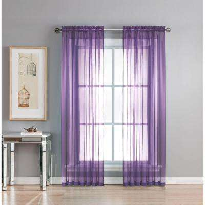 L Rod Pocket Curtain Panel Pair Purple Set