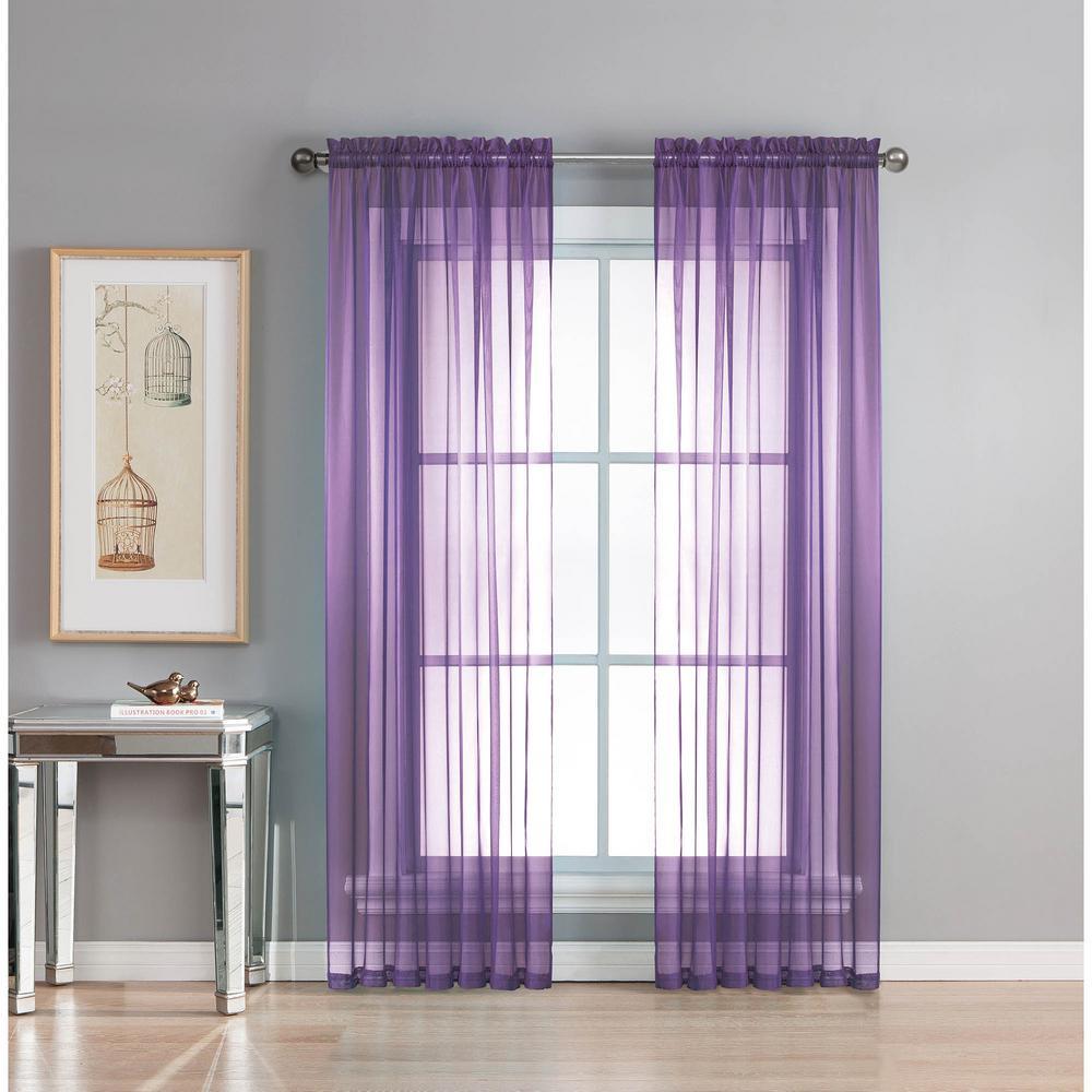 Sheer Sheer Elegance 84 in. L Rod Pocket Curtain Panel Pair, Purple (Set of 2)
