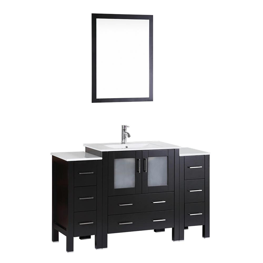Bosconi 54 in. Single Vanity in Espresso with Vanity Top in White in White with White Basin and Mirror