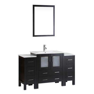 54 in. Single Vanity in Espresso with Vanity Top in White in White with White Basin and Mirror