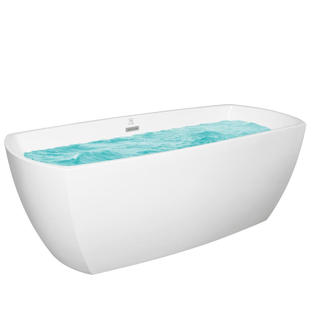 AKDY 69 in. Acrylic Center Drain Rectangular Double Ended Flatbottom Freestanding Bathtub in White