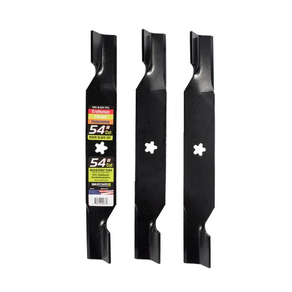 3 Blade Set for Many 54 in. Cut Craftsman, Husqvarna, Poulan Mowers Replaces OEM #'s 187256 and 532187256