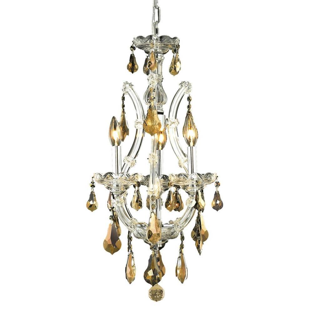 4-Light Chrome Chandelier with Golden Teak Smoky Crystal