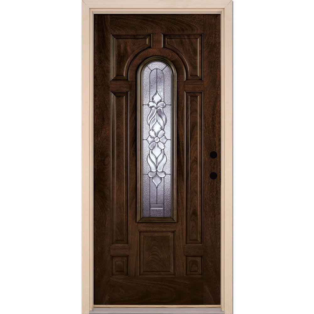 37.5 in. x 81.625 in. Lakewood Zinc Center Arch Lite Stained