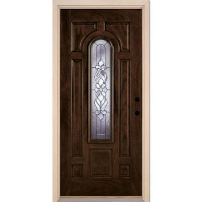 37.5 in. x 81.625 in. Lakewood Zinc Center Arch Lite Stained Chestnut Mahogany Left-Hand Fiberglass Prehung Front Door