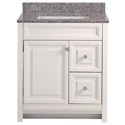 Brinkhill 31 in. W x 22 in. D Bathroom Vanity in Cream with Stone Effect Vanity Top in Mineral Gray with White Sink