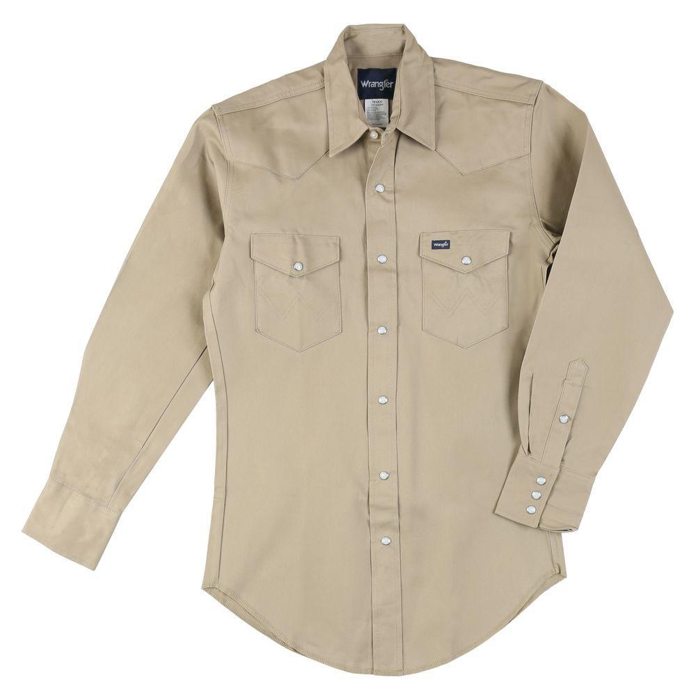 5d634579 Wrangler 175 in. x 38 in. Men's Cowboy Cut Western Work Shirt ...