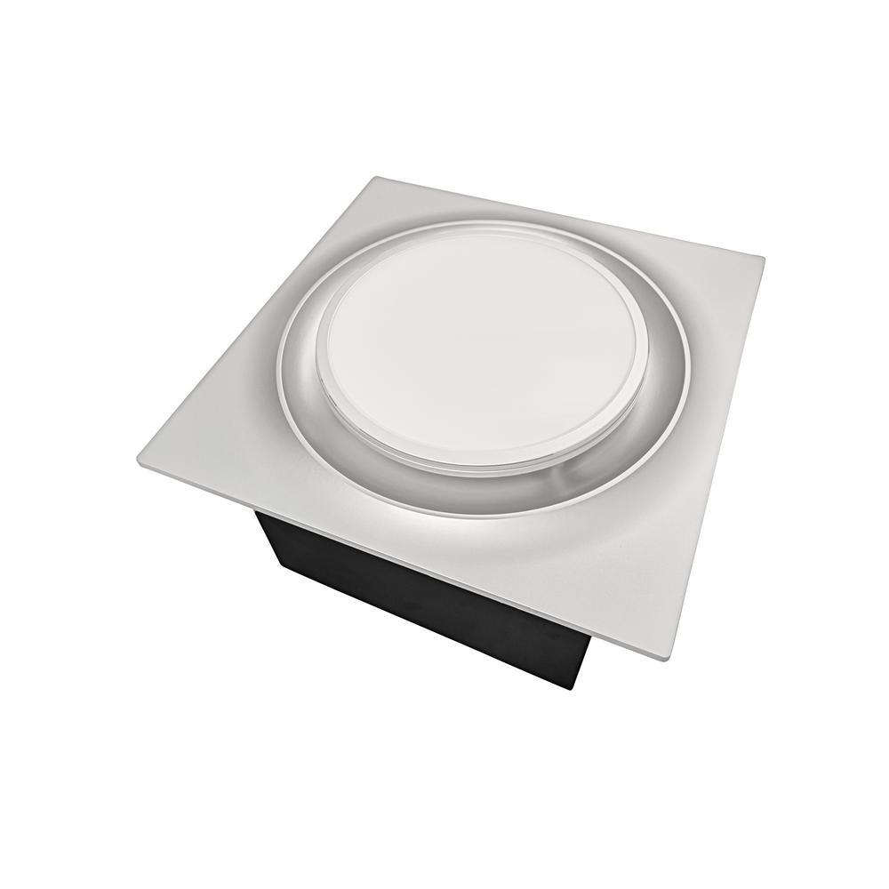 Aero Pure Low Profile 110 CFM Satin Nickel 0.9 Sones Quiet Ceiling Bathroom Ventilation Fan with LED Light/Night Light