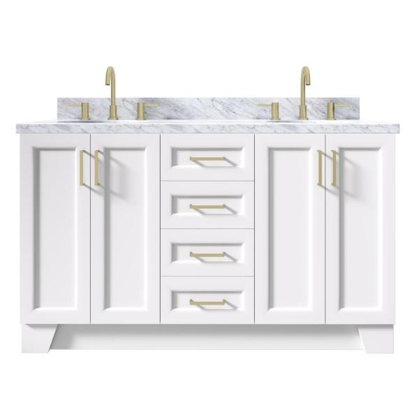 Ariel Taylor 61 In W X 22 In D Bath Vanity In White With Marble Vanity Top In Carrara White With White Basins Q061dcwovowht The Home Depot