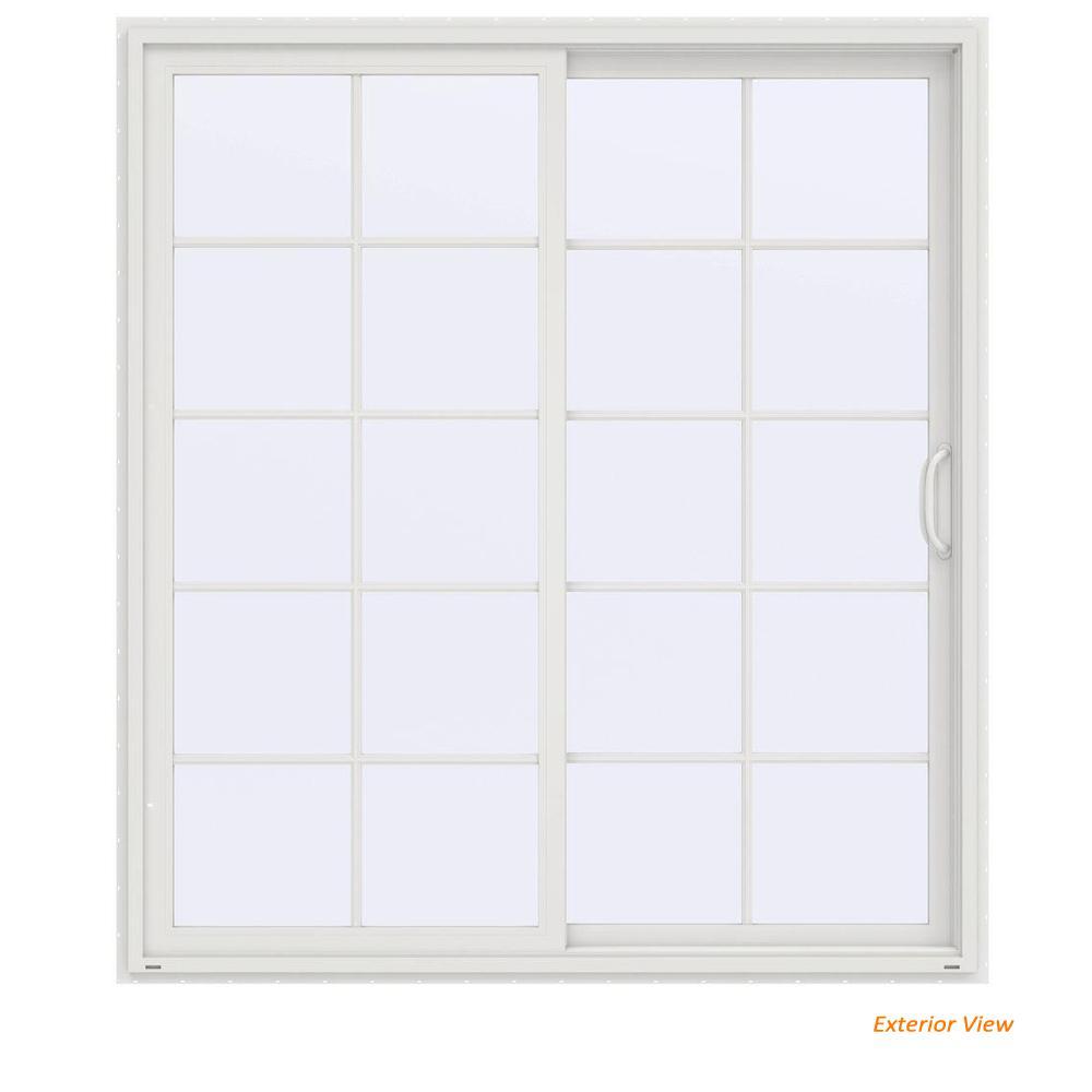 72 in. x 80 in. V-4500 Contemporary White Vinyl Right-Hand 10 Lite Sliding Patio Door