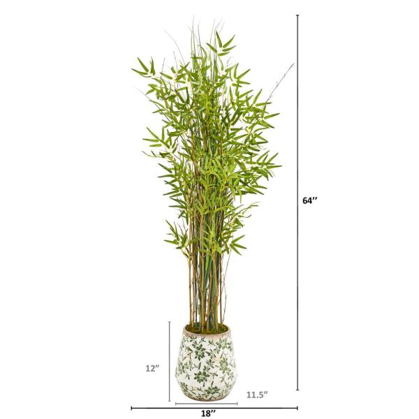 Nearly Natural 64 In Grass Artificial Bamboo Plant In Floral