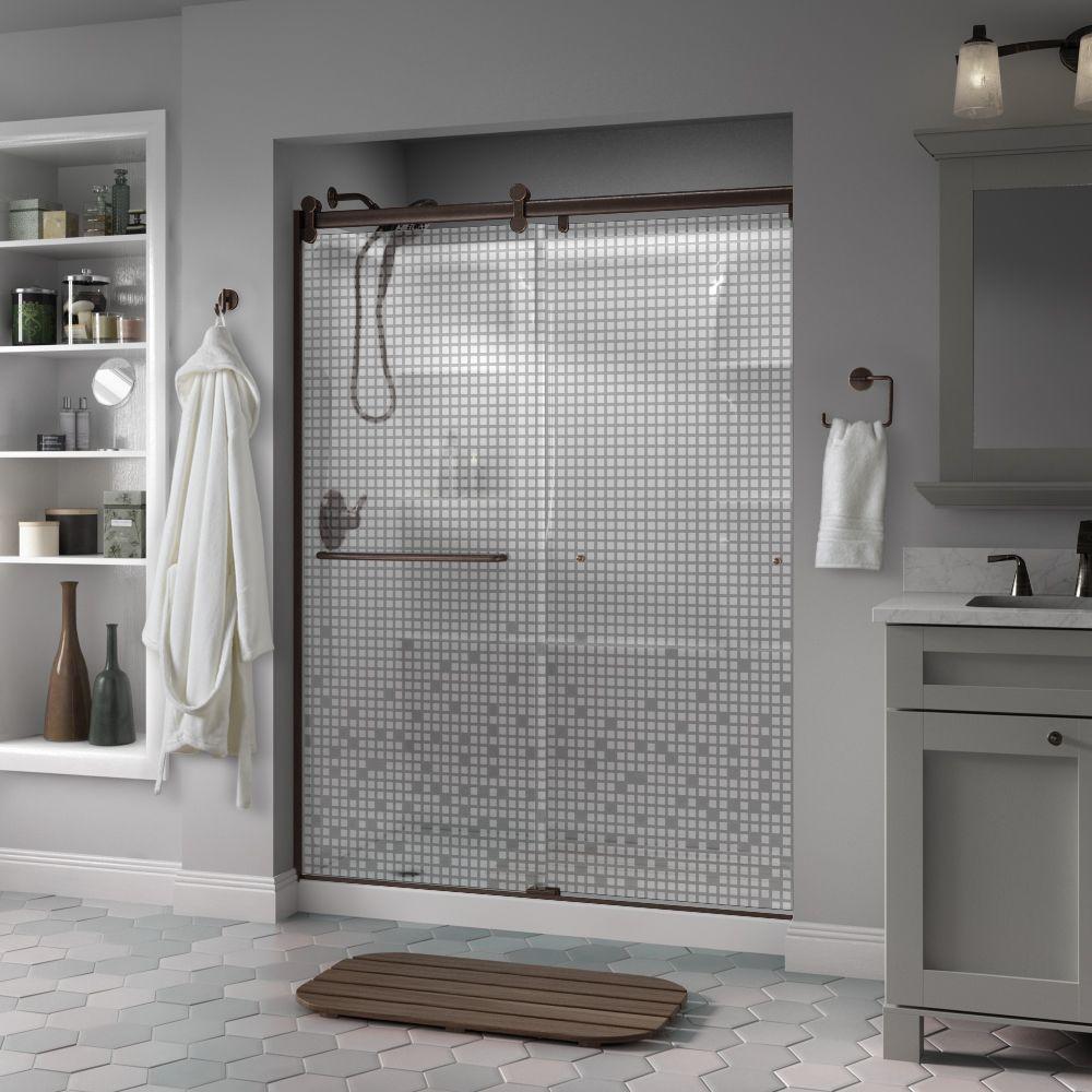 Beau Frameless Contemporary Sliding Shower Door In Bronze With Mozaic