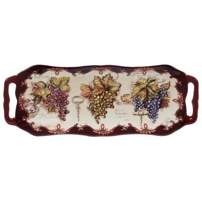 Vintners Journal Multi-Colored 16 in. x 6.25 in. Ceramic Rectangular Platter