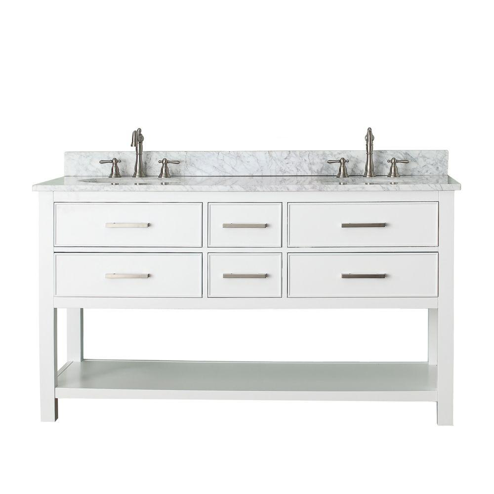 Avanity Brooks 61 in. W x 22 in. D x 35 in. H Vanity in White with Marble Vanity Top in Carrera White and White Basins