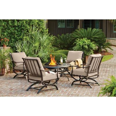 Redwood Valley Black 5-Piece Steel Outdoor Patio Fire Pit Seating Set with CushionGuard Putty Tan Cushions