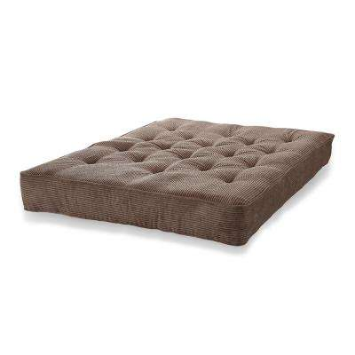 Beautyrest 8 in. Dark Chocolate Corduroy Pocketed Coil Visco Innerspring Futon Mattress