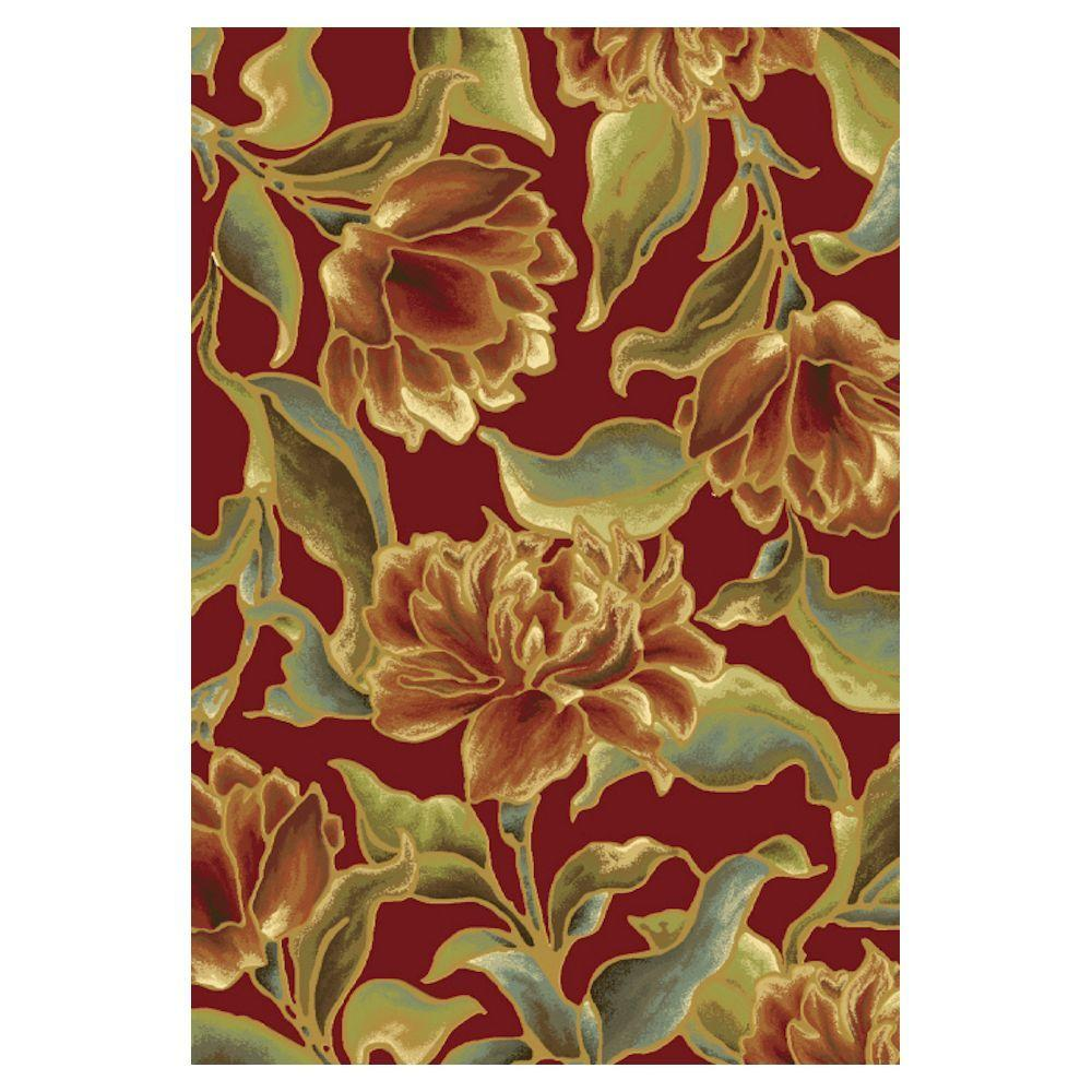 Kas Rugs Spacious Florals Red 2 ft. 2 in. x 3 ft. 7 in. Area Rug