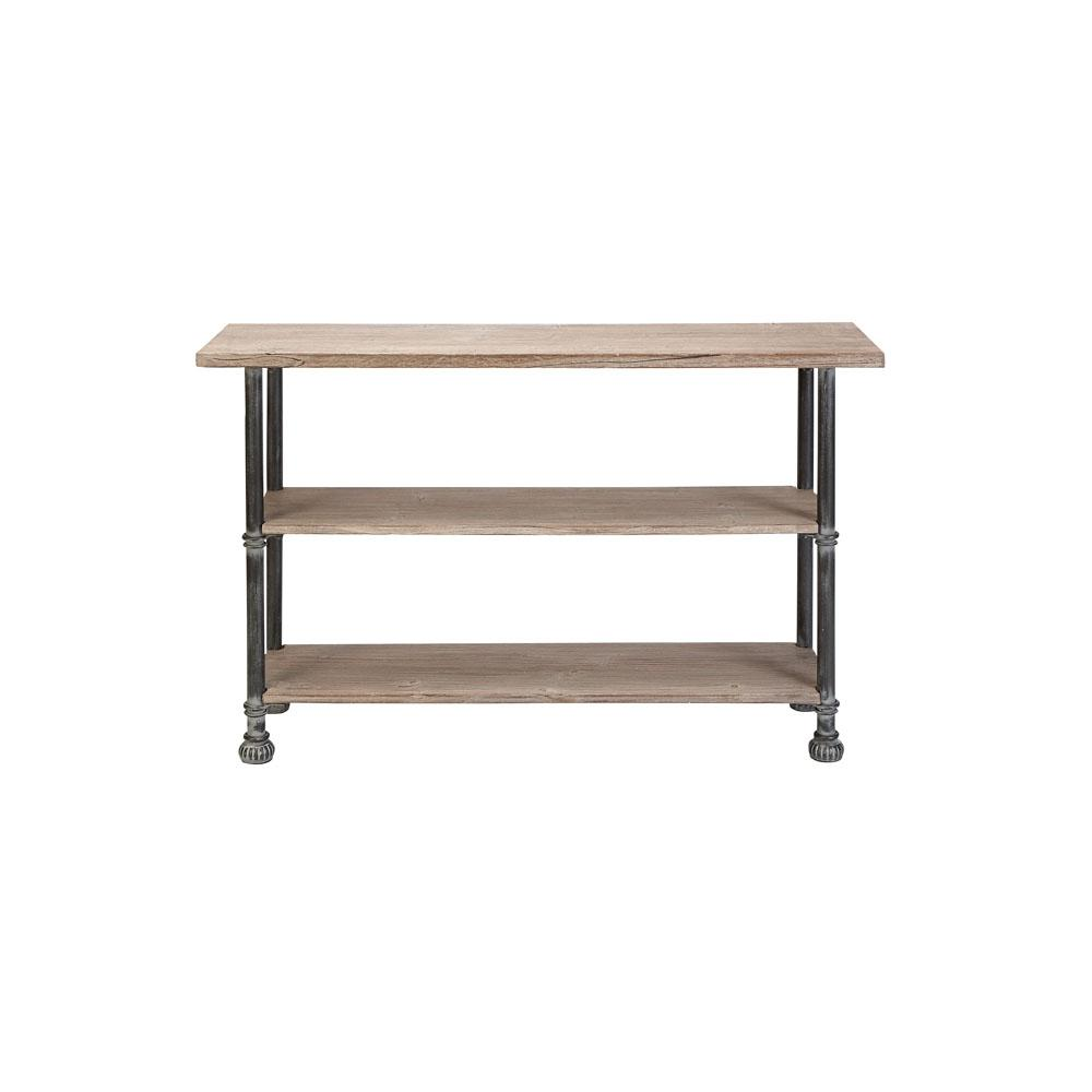Light Brown Rectangular 3-Tiered Wooden Console Table with Distressed Black Iron