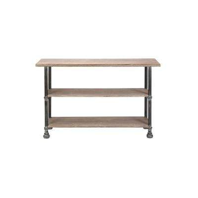 Light Brown Rectangular 3-Tiered Wooden Console Table with Distressed Black Iron Legs