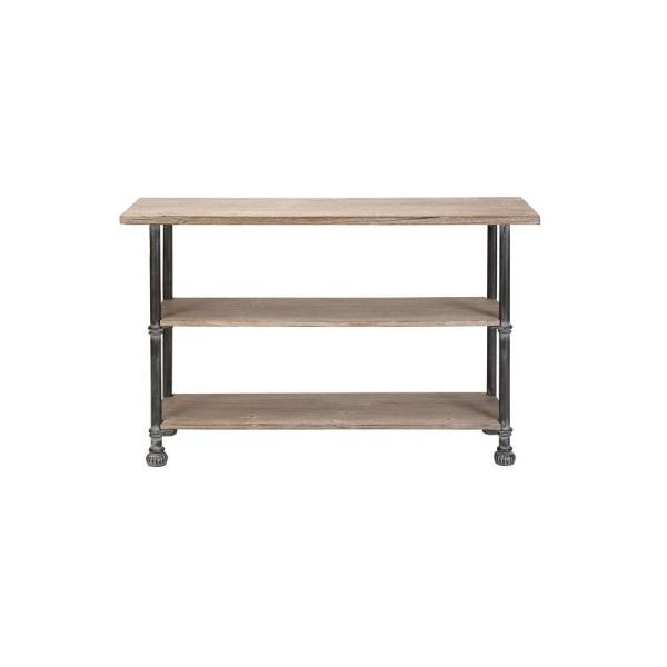 Litton Lane Light Brown Rectangular 3 Tiered Wooden Console Table With  Distressed Black Iron Legs