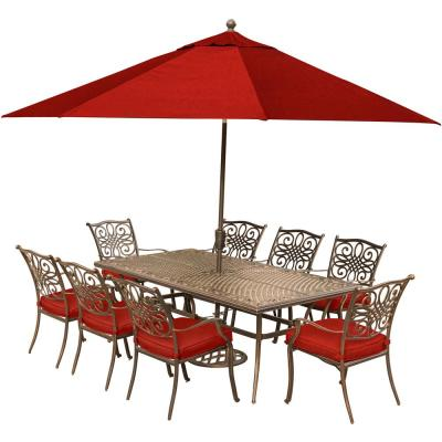 Traditions 9-Piece Aluminum Outdoor Dining Set with Red Cushions and Cast-Top Table