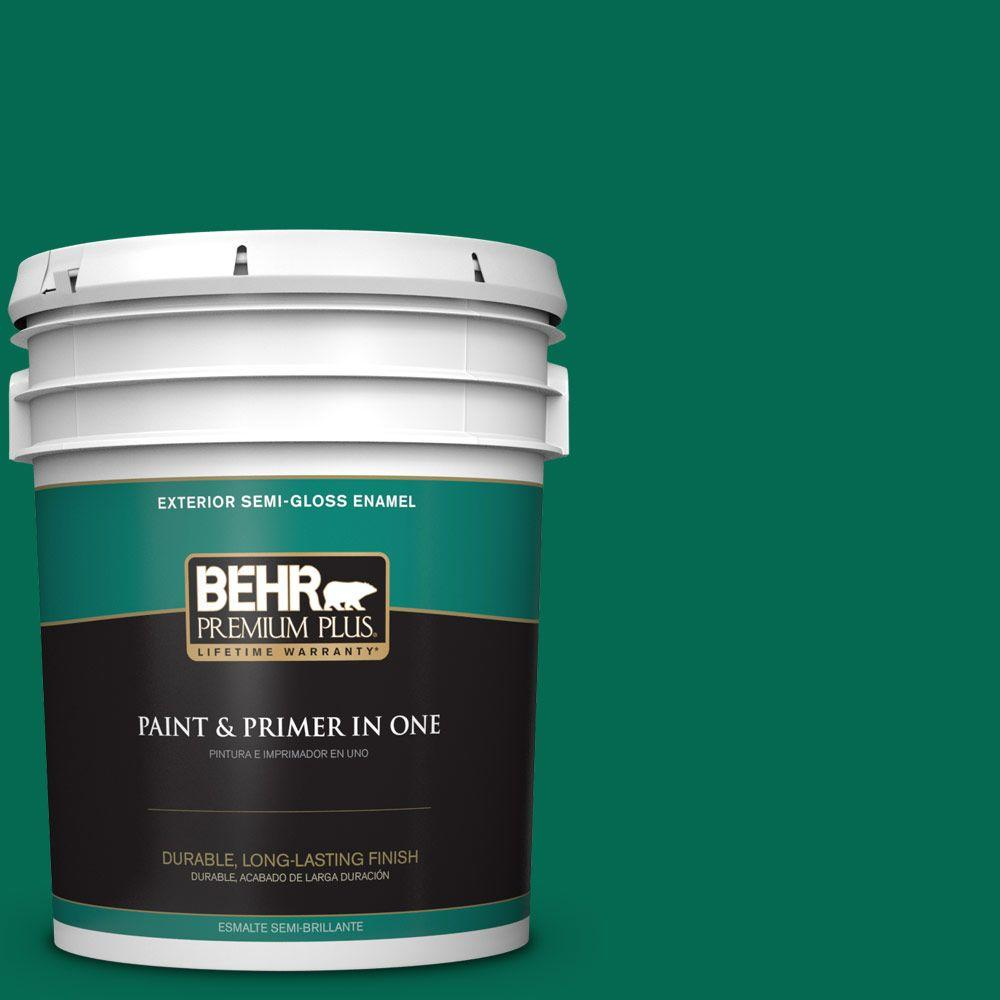BEHR Premium Plus 5-gal. #480B-7 Clover Brook Semi-Gloss Enamel Exterior Paint