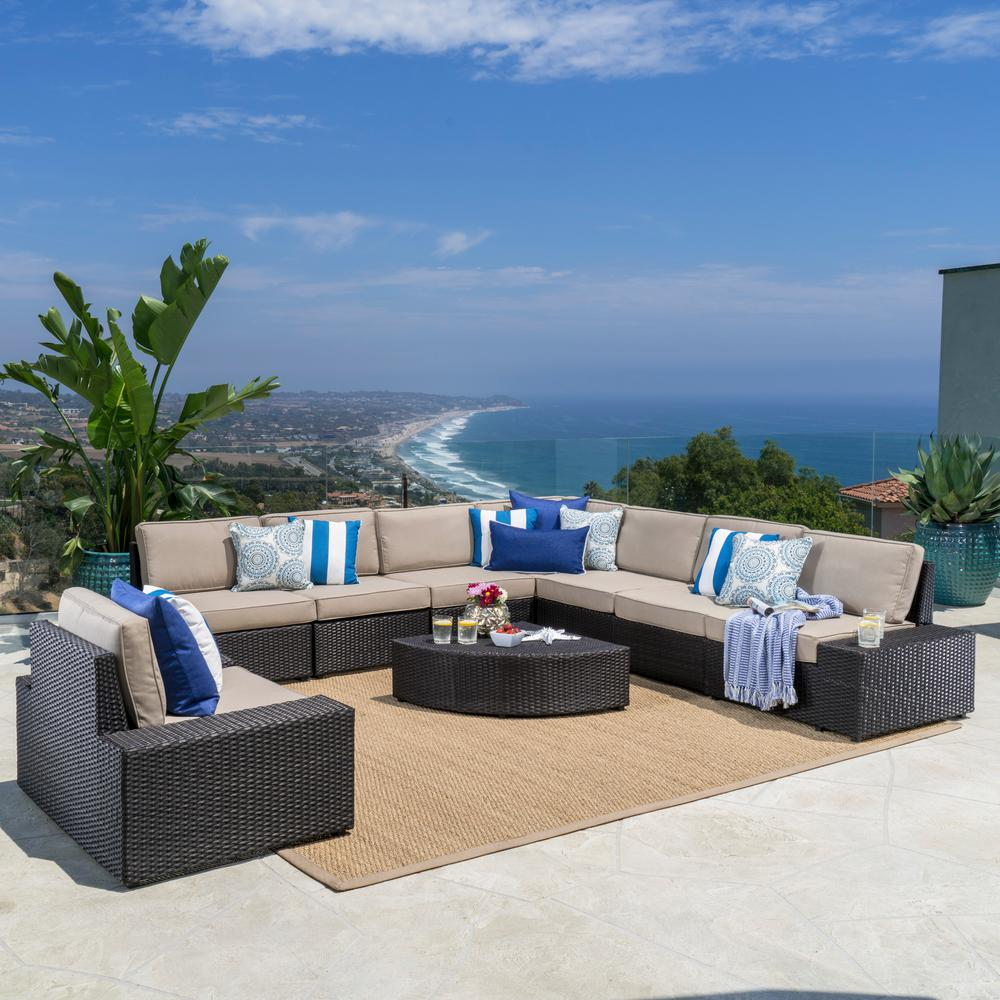 Noble House 9-Piece Wicker Patio Sectional Seating Set with Beige Cushions
