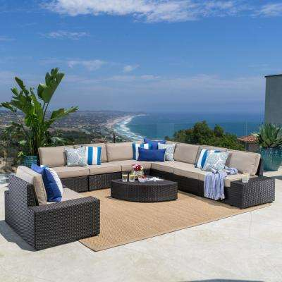 9-Piece Wicker Patio Sectional Seating Set with Beige Cushions