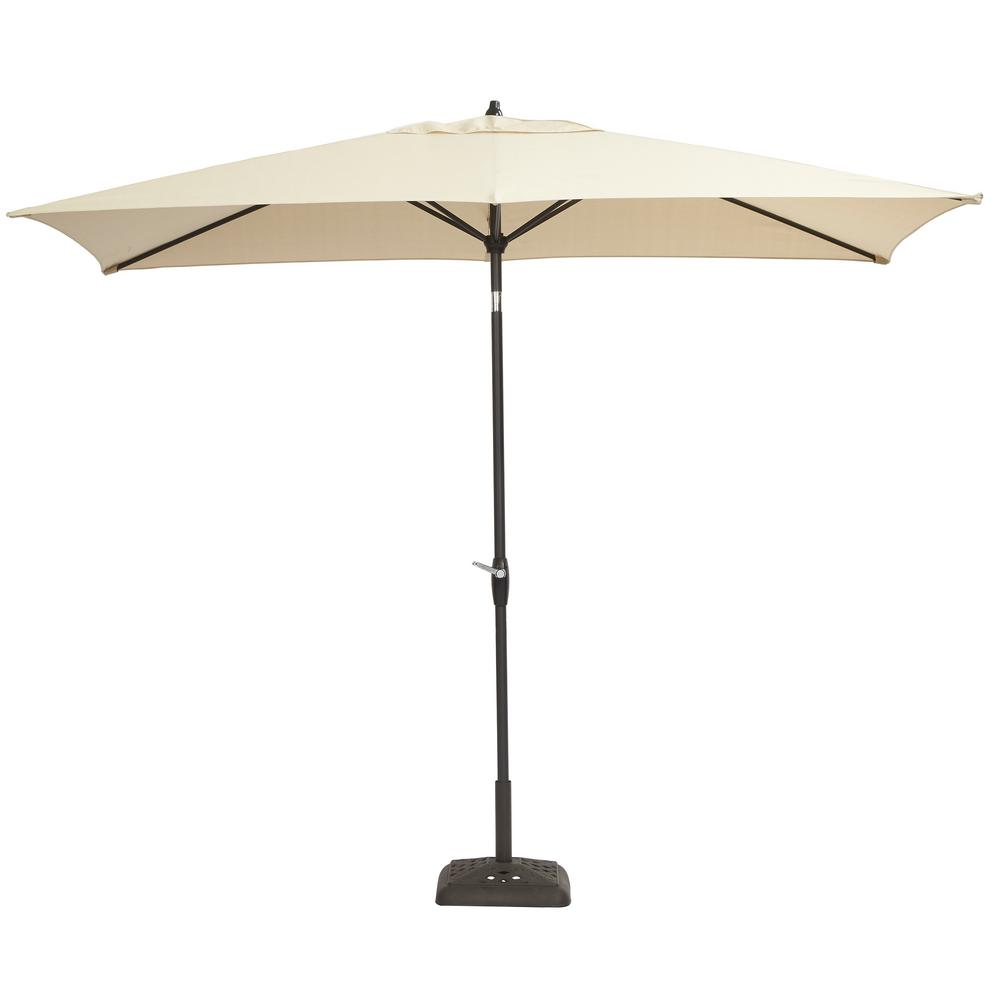 Hampton Bay 10 Ft X 6 Aluminum Patio Umbrella In Oatmeal With Tilt 9106 01240411 The Home Depot