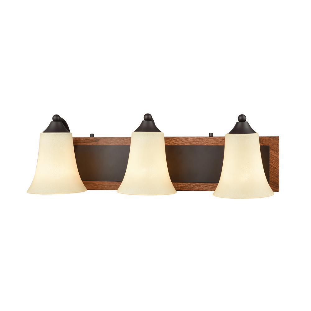 Thomas Lighting Park City 3-Light Oil Rubbed Bronze Wood Grain and Light Beige  sc 1 st  The Home Depot & Thomas Lighting Park City 3-Light Oil Rubbed Bronze Wood Grain and ...