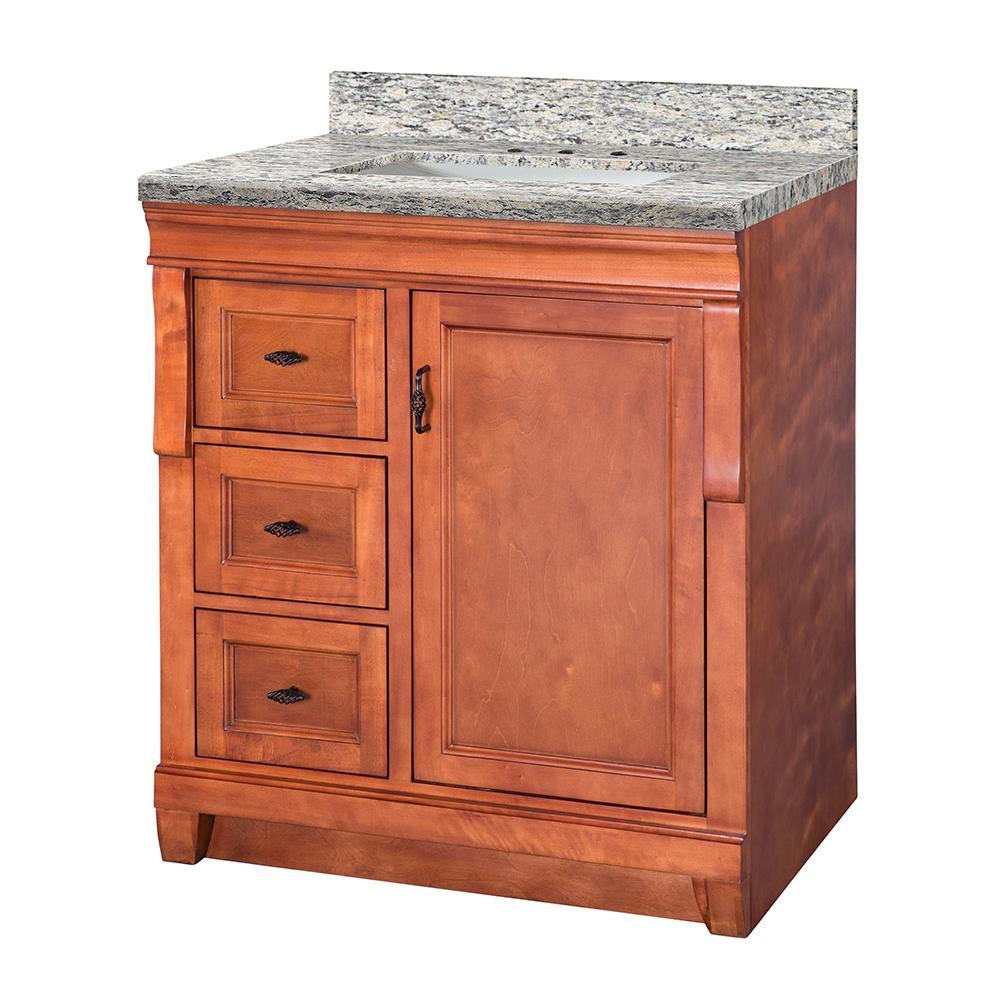 Naples 31 in. W x 22 in. D Vanity in Warm Cinnamon with Granite Vanity Top in Santa Cecilia with White Sink